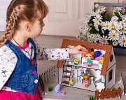 Кукольный домик с мебелью, текстилем и светом + механическая мельница. Развивающие игрушки. Одесса
