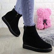 Женские зимние ботинки на танкетке loopy черные Хмельницкий