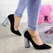 Туфли женские на каблуке черные Cora 1296 Мелитополь