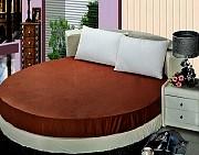Круглая кровать. Простынь коричневая, черная Киев