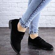 Туфли женские черные на шнурках Alaska 2083 (36 размер) Мелитополь