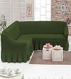 Чехол на угловой диван с юбкой Бежевый Home Collection Evibu Турция 50038 Зеленый Житомир