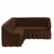 Чехол на угловой диван с юбкой Бежевый Home Collection Evibu Турция 50038 Коричневый Житомир
