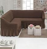 Чехол на угловой диван с юбкой Бежевый Home Collection Evibu Турция 50038 Кофейный Житомир