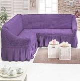 Чехол на угловой диван с юбкой Бежевый Home Collection Evibu Турция 50038 Сиреневый Житомир