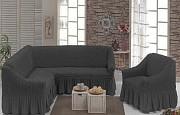 Чехол с юбкой на угловой диван и кресло Бежевый Evibu Турция 50049 Новое , Графит Житомир
