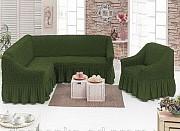 Чехол с юбкой на угловой диван и кресло Бежевый Evibu Турция 50049 Новое, Зеленый Житомир