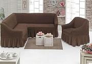 Чехол с юбкой на угловой диван и кресло Бежевый Evibu Турция 50049 Новое, Кофейный Житомир