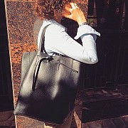 Женская сумка Италия шоппер формат А4 с ручками натуральная кожа в черном цвете Киев
